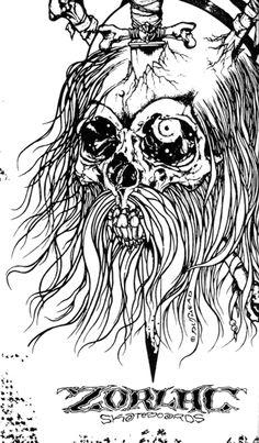 Pushead's Pirate Skull design for Zorlac skateboards... *