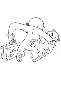 Curious George is Leaving with Teddy Bear Coloring Page - NetArt Curious George Coloring Pages, Teddy Bear Coloring Pages, Fun Crafts, Snoopy, Leaves, Painting, Fictional Characters, Art, Fun Diy Crafts