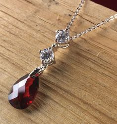 Retro Exotics Rhodium Garnet and Topaz Pendant Necklace N1848-RD|We combine shipping|No Question Refunds|Bid $60 for free shipping. Starting at $1