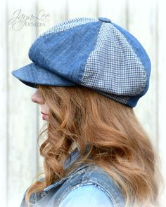 A slouchy denim newsboy hat by Jaya Lee Designs; handmade, from reclaimed denim, and vintage houndstooth fabric fabric. This newsboy hat has a
