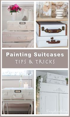 to paint suitcases. Tips and tricks Find out how to paint suitcases with these tips and tricks. Painted suitcases are the rage in home decor land. If you've been wondering how to create the look yourself let me show you how to paint vintage suitcases. Tips And Tricks, Vintage Suitcases, Vintage Luggage, Vintage Suitcase Decor, Makeup Tricks, Diy Storage, Diy Organization, Makeup Storage, Organising Ideas