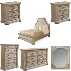 ART Furniture - Arch Salvage Parchment Bryce 6 Piece Queen Upholstered Bedroom Set - 233125-2802-6SET