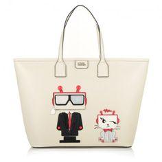 Karl Lagerfeld Tasche – K/Robot Shopper Karl & Choupette Creme – in beige – Umhängetasche für Damen