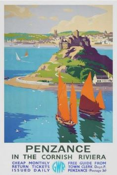 Vintage Travel Poster - Penzance - The Cornish Riviera - Cornwall - UK.