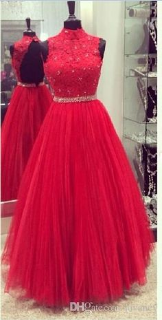 Vintage High Neck Prom Dresses Lace Top Beads Crystal Sash Floor Length Backless A Line Soft Tulle Long Evening Gowns Red Real Images Peacock Prom Dress Plus Size Formal Dress