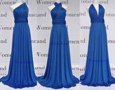 Elegant Blue Floor Length Infinity Dress Convertible Bridesmaid Evening Party Prom Dress Plus Size Woman Dresses. $88.00, via Etsy.