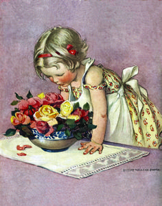 Stop And Smell The Roses (Jessie Willcox Smith Art Prints) Magazine Illustration, Children's Book Illustration, Vintage Images, Vintage Art, Vintage Paper, Nostalgic Art, American Illustration, Vintage Children, Art Children