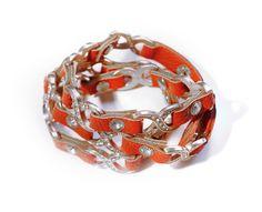 Red Leather Cross-Cross Bracelet