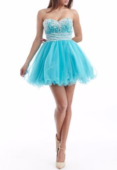 Description - Unique Short Tulle Sweetheart Strapless Crystal Sequins Homecoming Dress - Sequins crystal ornaments and flare skirt design, the dress has beautiful crystal encrusted details that accent