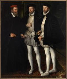 Portrait of the Brothers Gaspard (1519-1572), Odet (1517-1571) and François (1521-1569) de Châtillon-Coligny ... Anon (France) ...  before 1579