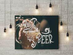 Wish you were beer canvas ready to hang on the wall picture beautiful home decor wall art valentines day gift canvas by funkytshirtsfactory on Etsy Valentine Day Gifts, Valentines, Canvas Home, Home Decor Wall Art, Picture Wall, Beautiful Homes, Beer, Neon Signs, Pictures