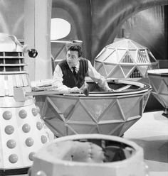 16 August: Birthday wishes to Murphy Grumbar (1928-1991), one of Doctor Who's most prolific Dalek operators.  He appeared in The Daleks, The Dalek Invasion of Earth, The Space Museum, The Chase (pictured here, in which he played a Mechonoid for a change), The Evil of the Daleks, Day of the Daleks, Frontier in Space, Planet of the Daleks and Death to the Daleks. In addition, he also played Arcturus in The Curse of Peladon.