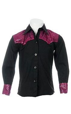 09 Apparel Girls Black w/ Pink Sequins Long Sleeve Western Shirt | Cavender's