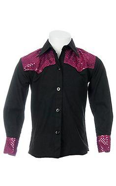 09 Apparel Girls Black w/ Pink Sequins Long Sleeve Western Shirt | Cavender's