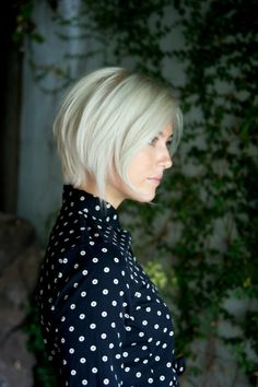 Grey wedged bob hair cut.