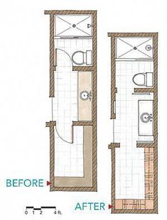 Floor Plan Long Narrow Bathroom Layout Caveat for small bathroom floor plans. As the small bathroom above shows adding a mirror across a whole wall can double the look and feel of a small room. Bathroom Closet, Bathroom Doors, Master Closet, Bathroom Flooring, Bathroom Showers, Bathroom Cabinets, Bathroom Wall, Master Bathroom Layout, Bathroom Plans