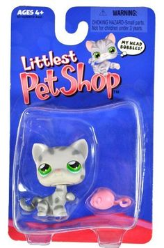 Hasbro Year 2004 Littlest Pet Shop Single Pack Series Bobble Head Pet Figure - Grey Striped TABBY KITTY CAT with Mouse Toy (#50142) by Hasbro, http://www.amazon.com/dp/B0055D24TW/ref=cm_sw_r_pi_dp_bJt8pb1WSVCHZ