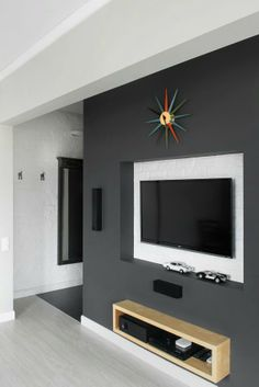 Interior Design, Simple And Cool Media Storage Design With Grey Colored Style Added LCD Tv Installation Set: Stylish Modern Bachelor Pad in Simple and Cool Interior Design Wall Mount Entertainment Center, Entertainment Room, Gray Interior, Interior Design, Tv Decor, Home Decor, Wall Decor, Retro Stil, Eclectic Design