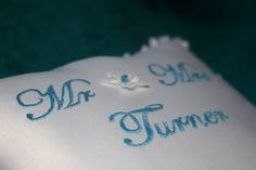 Personalised wedding ring / ring bearer pillows at Sarah Elizabeth Creations Wedding Ring Cushion, Cushion Ring, Sarah Elizabeth, Ring Bearer Pillows, Ring Ring, Personalized Wedding, Tattoo Quotes, Wedding Rings, Engagement Rings