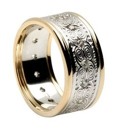 mens ring gold and sliver
