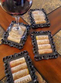 Mini picture frames & wine corks=Beautiful Coasters!