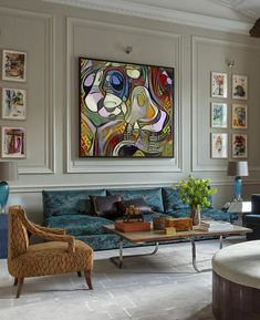 Abstract Art Influenced by Girl Before a Mirror, Abstract Painting, Colorful Abstract, Modern Art, Contemporary Wall Art. Interior Design Living Room, Living Room Designs, Living Room Decor, Interior Decorating, Contemporary Wall Art, Modern Art, Living Room Inspiration, Beautiful Interiors, Loft
