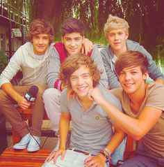 OMC. Their hair is just so... I can't... GGAAHHH! One Direction <3 Liam James Payne, Zayn Jawaad Malik, Niall James Horan, Harry Edward Styles, and Louis William Tomlinson :)