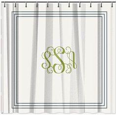 Classic Monogram Shower Curtain   Multiple Color Options