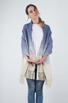 Ombré Blue blanket scarf merino wool dip dye hand by texturable