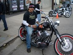 Billy on one of his custom built choppers