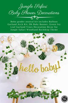 Leaf Garland, Balloon Garland, Balloons, Baby Shower Decorations Neutral, Gender Neutral Baby Shower, Amazon Prime Day Deals, Baby Banners, Ivy Leaf, Jungle Safari