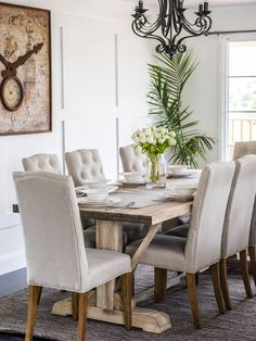 Cottage Style Dining Room Furniture 19 Dining Room Ideas for More Dining Decor Ideas Decor Outdoor Dining Furniture, Dining Decor, Decoration Table, Dining Room Design, Dining Room Table, Beige Dining Room, Table 19, Dinning Chairs, Side Chairs