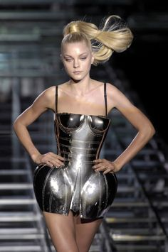 Silver Armour Fashion with contoured 3D silhouette - sculptural dress; metallic fashion // Dolce & Gabbana