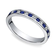 Something Blue: The elegant Diamond & Sapphire Eternity Ring in White Gold by Brilliance weds the beautiful blue of sapphires with the stunning sparkle of diamonds, set in a sleek band! http://www.brilliance.com/wedding-rings/sapphire-diamond-eternity-band-white-gold