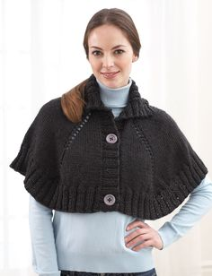 Top Down Button Front Capelet (Pattern)   Yarnspirations