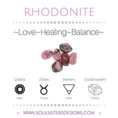 Metaphysical Healing Properties of Rhodonite, including associated Chakra, Zodiac and Element, along with Crystal System/Lattice to assist you in setting up a Crystal Grid. Go to https://www.soulsistersdesigns.com/rhodonite to learn more!