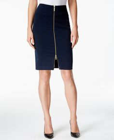 The two-way zipper closure at the front of Michael Michael Kors' pencil skirt gives this classic look a captivating update! | Polyester/elastane | Machine washable | Imported | Two-way zipper closure