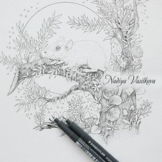 I will continue to send the spoiler for my new coloring book. I want to make beautiful and various drawings to make it interesting to do coloring! 🐁I hope that no one is afraid of mice !? www.nadiyavasilkova.com #coloringbook #nadiyavasilkova #mystaedtler #illustration #pointillism #stippling #dotwork #coloring #draweveryday #adultocolorbook #ColoringMasterpiece