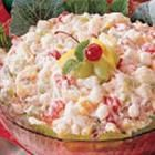 Marshmallow Fruit Salad Recipe. This one is similar to my mom's recipe, only she also  adds chopped pecans, toasted coconut flakes, and small custard cottage cheese instead of cream cheese, to lower the calories. Delishhhh!!