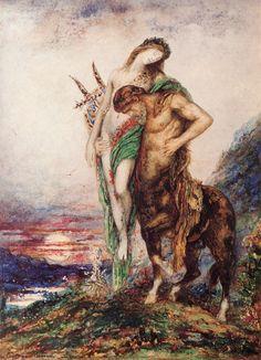 Dead poet borne by centaur By Gustave Moreau