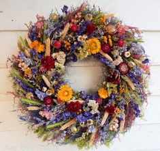 """Dried Flower Wreath, """"Nature's Treasures"""" Spring Wreath, Year Round Wreath, Door Wreath, Flower Wrea Dried Flower Wreaths, Fall Wreaths, Door Wreaths, Dried Flowers, Purple Wreath, Lavender Wreath, Floral Wreath, Primitive Wreath, Year Round Wreath"""