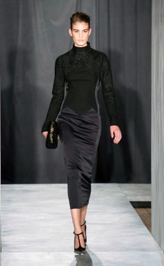 Jason Wu - Fall-Winter 2014-2015 New York Fashion Week black dress gown long sleeves fitted