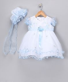 White & Blue Organza Dress & Bonnet - Infant, Toddler & Girls