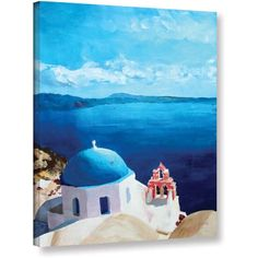 Markus Bleichner Oia Santorini with Blue Sky Gallery Wrapped Canvas, Size: 18 x 24, White