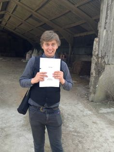 Ben Norman holding the script for 'The Farm'.