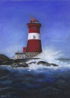 Møkkalasset Acrylic Paintings, Watercolor, Drawings, Lighthouses, Pastel, Pen And Wash, Watercolor Painting, Watercolour, Drawing