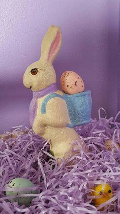 Hand Painted Plaster Easter Bunny