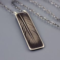 Small Feather Necklace  silver feather jewelry by lisahopkins, $62.00