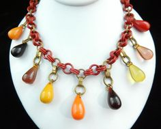 Vtg Amber RED Orange BLACK Butterscotch BAKELITE Teardrop FRINGE Dangle NECKLACE