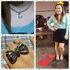 Office attire! #ootd #ring #necklace #blackpencilskirt #aztecballetshoes